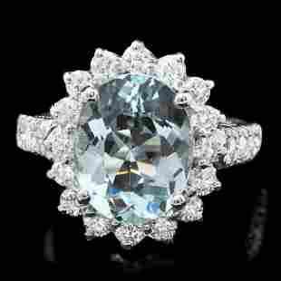14k Gold 3.5ct Aquamarine 1.25ct Diamond Ring