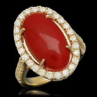 14K Gold 6.08ct Coral 0.94ct Diamond Ring
