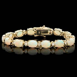 14k Gold 15.00ct Opal 1.10ct Diamond Bracelet