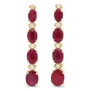 14K Gold 9.72ct Ruby 0.37cts Diamond Earrings
