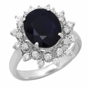 14K Gold 4.35ct Sapphire 0.48ct Diamond Ring