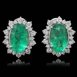 18K Gold 13.64ct Emerald 3.26ct Diamond Earrings