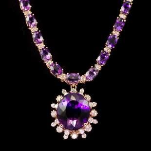 14K Gold 31.07ct Amethyst 2.45ct Diamond Necklace