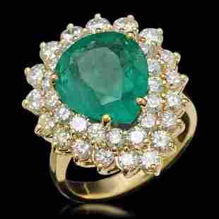 14K Gold 5.67ct Emerald & 2.87ct Diamond Ring