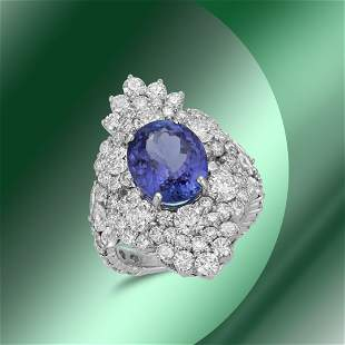 14K Gold 4.48cts Tanzanite 0.82cts Sapphire & 4.48cts