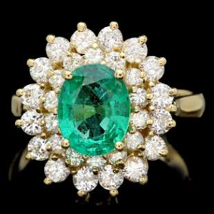 18k Gold 1.75ct Emerald 1.50ct Diamond Ring