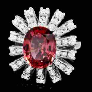 14k White Gold 5.65ct Zircon 1.80ct Diamond Ring