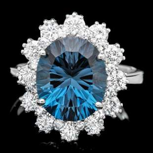 14k White Gold 5.70ct Topaz 0.80ct Diamond Ring