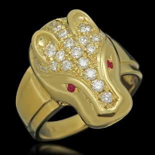 18K Gold 1.08 Diamond Ruby Panther Ring