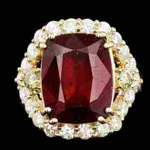 14k Yellow Gold 11.00ct Ruby 1.75ct Diamond Ring