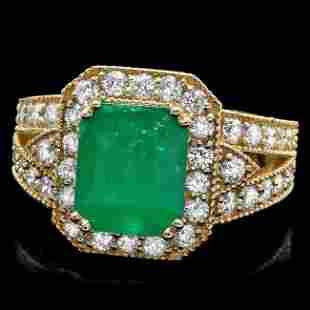 14k Gold 2.70ct Emerald 1.30ct Diamond Ring