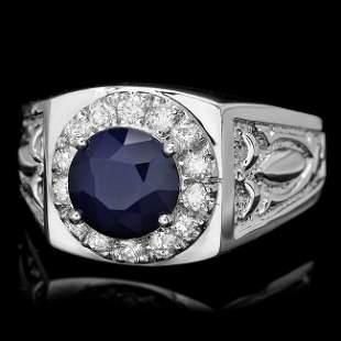 14k Gold 2.5ct Sapphire .60ct Diamond Mens Ring