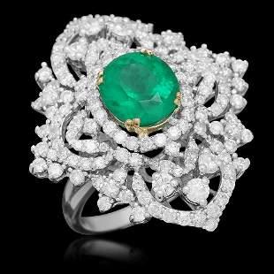 18K Gold 3.11 Emerald 3.22 Diamond Ring