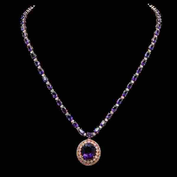 14K Gold 30.08ct Amethyst & 2.60ct Diamond Necklace