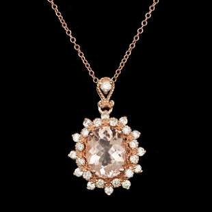 14k Rose 2.50ct Morganite 0.70ct Diamond Pendant