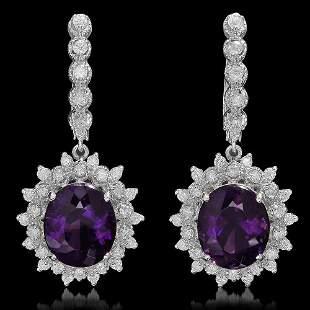 14K Gold 9.25ct Amethyst 1.44ct Diamond Earrings