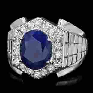 14k Gold 4ct Sapphire 0.70ct Diamond Mens Ring