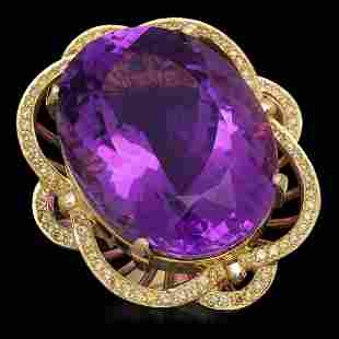 14K Gold 53.22ct Amethyst 1.00ct Diamond Ring