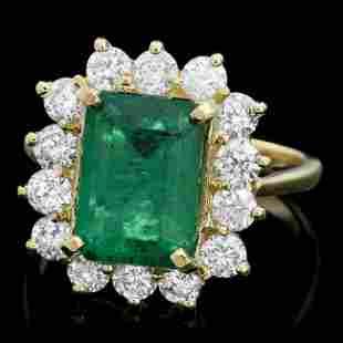 18k Gold 3.50ct Emerald 1.30ct Diamond Ring
