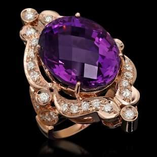 14K Gold 17.75ct Amethyst & 1.10ct Diamond Ring