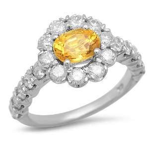 14K Gold 1.49ct Yellow Sapphire 1.51cts Diamond Ring