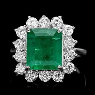 18k White Gold 4.00ct Emerald 1.30ct Diamond Ring
