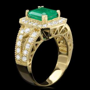 14k Gold 2.20ct Emerald 1.30ct Diamond Ring