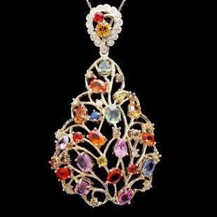 14k Gold 11ct Sapphire 1.20ct Diamond Pendant