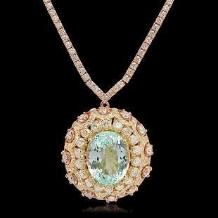 14K Rose Gold, 16.50cts Aquamarine, 11.80cts Diamond