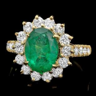 14k Gold 2.50ct Emerald 1.30ct Diamond Ring