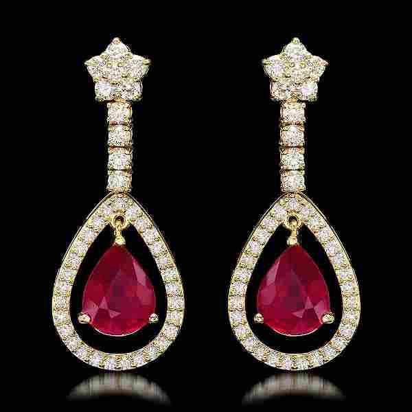 k Yellow Gold 9.21ct Ruby 2.75ct Diamond Earrings