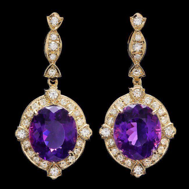 14k Gold 16ct Amethyst 1.7ct Diamond Earrings
