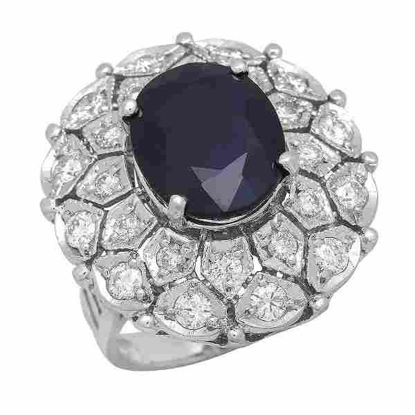 14K Gold 9.23ct Sapphire 1.72ct Diamond Ring