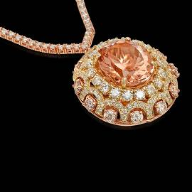 14K Yellow/Rose Gold, 17.10 Morganite, 12.00cts Diamond