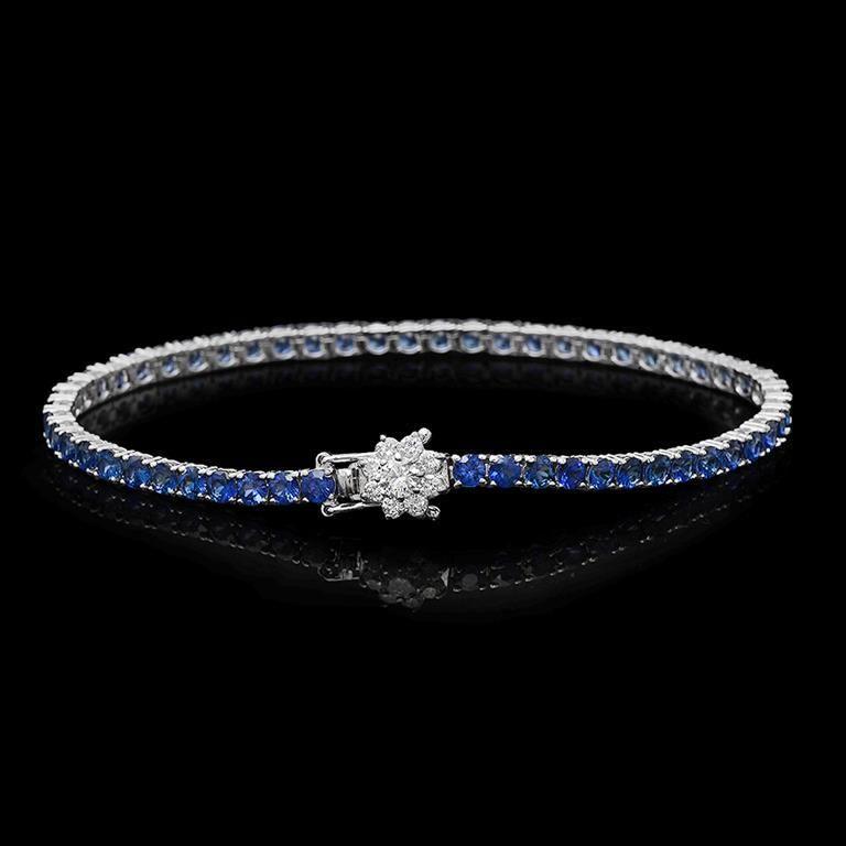 14K Gold 7.00ct Sapphire 0.55ct Diamond Bracelet