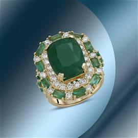 14K Gold 13.88cts Emerald & 2.89cts Diamond Ring