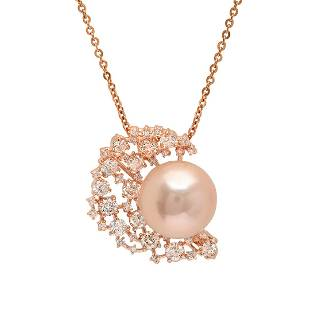 14K Rose Gold, 15mm South Sea Pearl, 2.23cts. Diamond