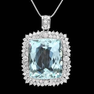 14k 38.00ct Aquamarine 3.55ct Diamond Pendant
