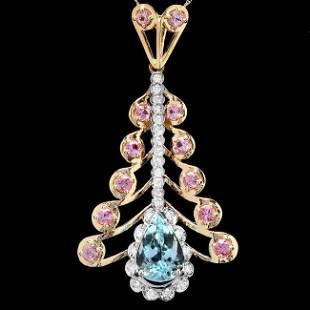14k Gold 4.00ct Aquamarine 0.70ct Diamond Pendant