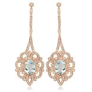 14K Rose Gold, 7.59cts Aquamarine, 2.63cts Diamond