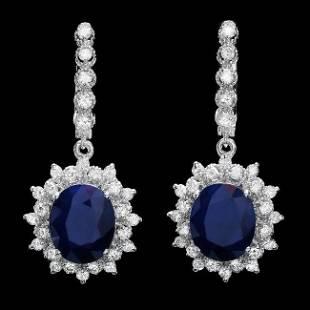 14k Gold 10.00ct Sapphire 1.70ct Diamond Earrings