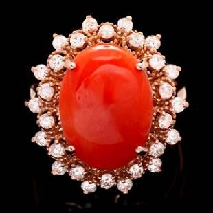 14k Rose Gold 4.50ct Coral 0.80ct Diamond Ring