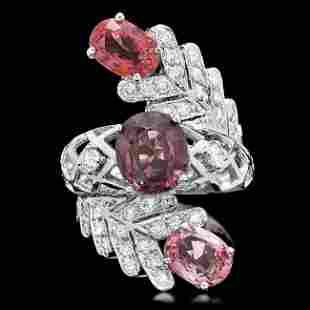 14k White Gold 5.5ct Spinel 1.00ct Diamond Ring