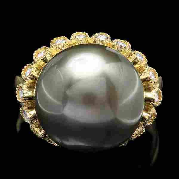 14k Gold 14 X 14mm Pearl 0.64ct Diamond Ring