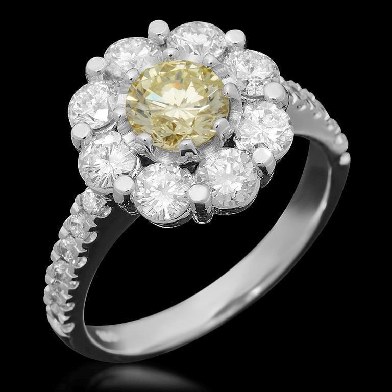 14K White Gold 0.80ct Fancy Color Diamond 2.72ct