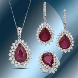 14K Gold Ruby & Diamond Ring, Earrings and Pendant Set