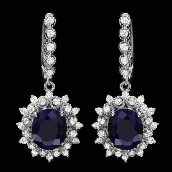 14k Gold 8.00ct Sapphire 1.80ct Diamond Earrings