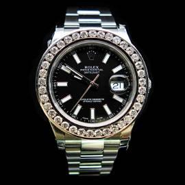 Rolex DateJust 41mm Black Index Diamond Bezel Aprox.