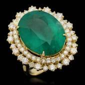 14K Gold 17.93ct Emerald 2.10ct Diamond Ring