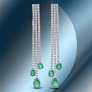 14K Gold 5.85cts Emerald & 4.52cts Diamond Earrings